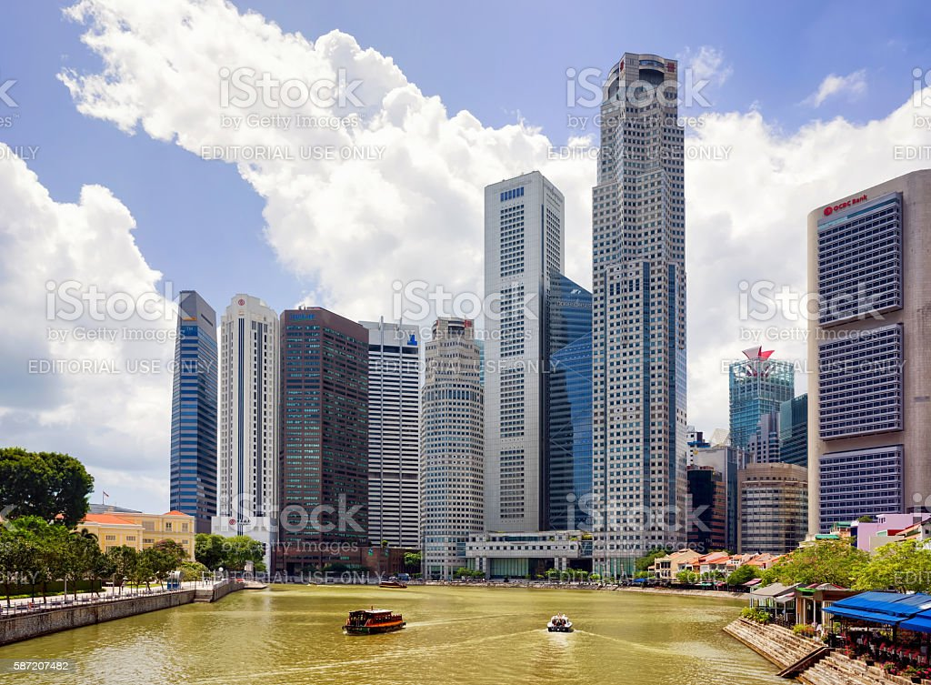 Skyscrapers in Downtown Core along Quay District embankment in Singapore stock photo