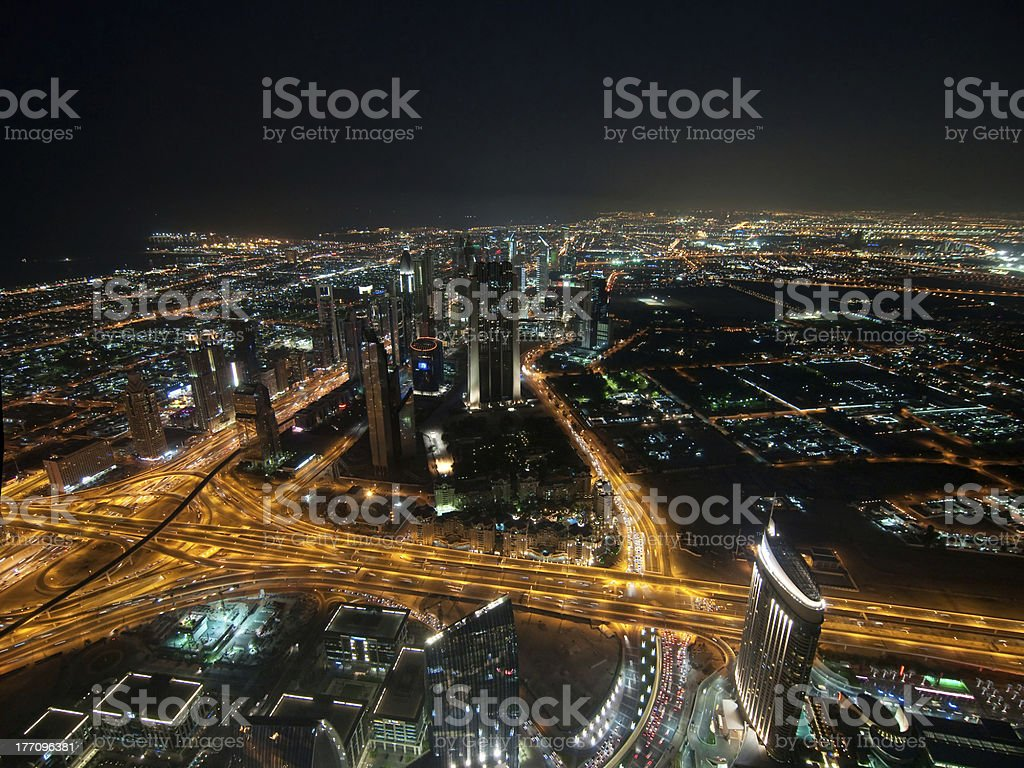 Skyscrapers in Dubai at night royalty-free stock photo