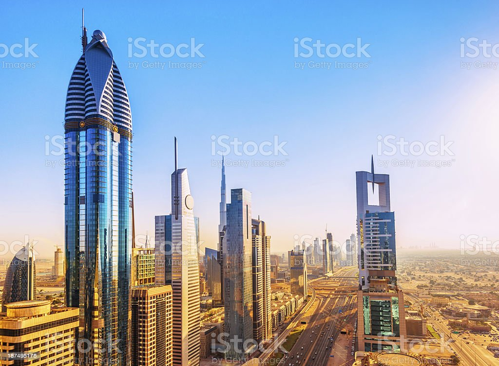 Skyscrapers in Dubai at sunset royalty-free stock photo