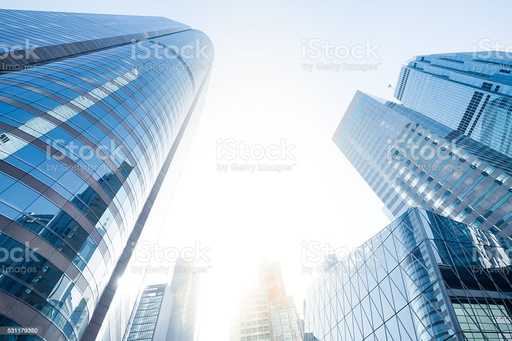 skyscrapers in Hong kong city stock photo