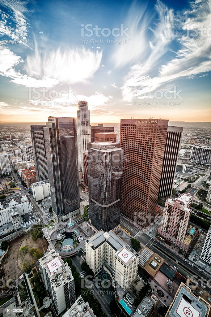 Skyscrapers in Los Angeles city stock photo