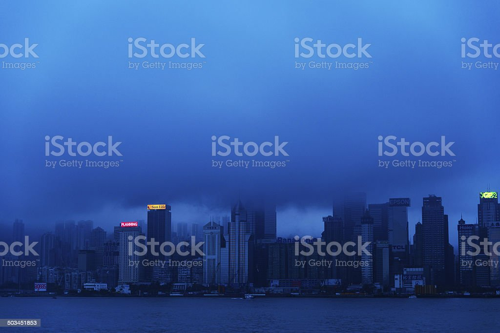 Skyscrapers in mist royalty-free stock photo