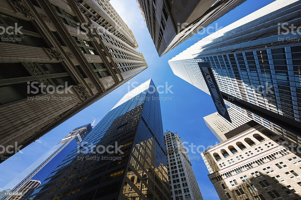 Skyscrapers in New York City financial district, Lower Manhattan royalty-free stock photo