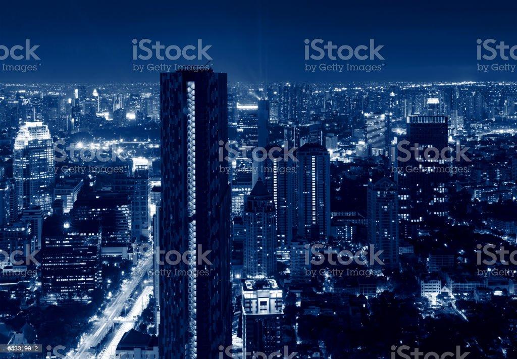 Skyscrapers in Sathorn District , Bangkok, Thailand stock photo