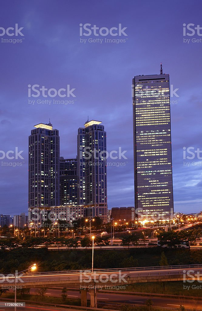 Skyscrapers in Seoul by Night stock photo