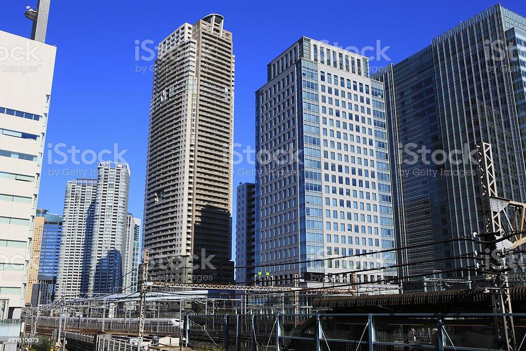 Skyscrapers in Shiodome, near JR Hamamatsucho Station stock photo
