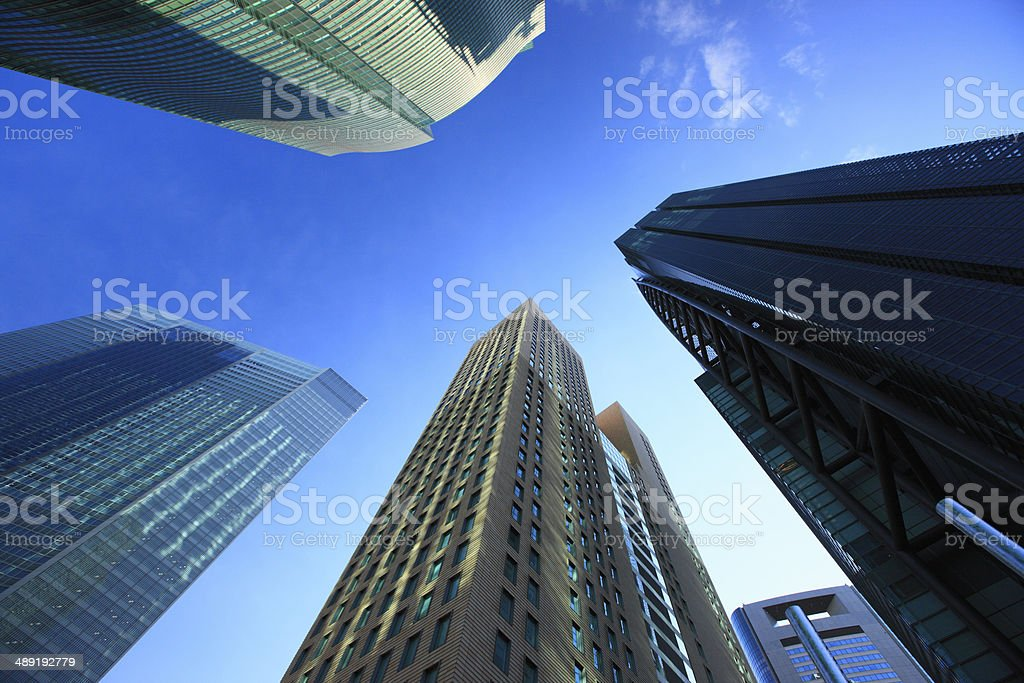 Skyscrapers in Shiodome stock photo