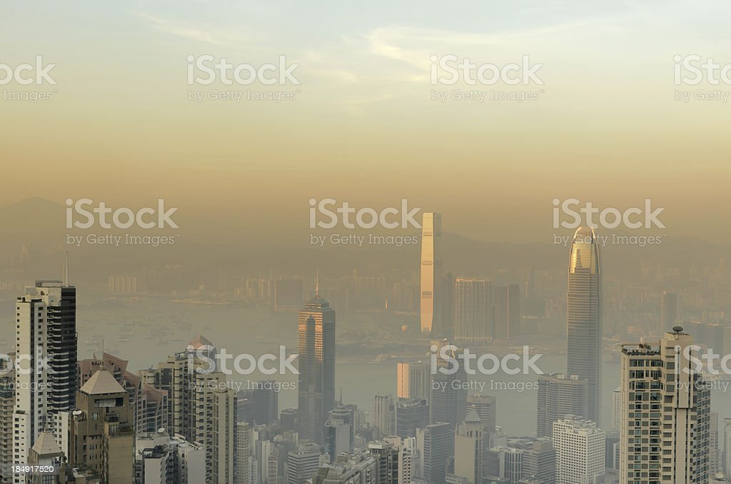 Skyscrapers in sunset mist stock photo
