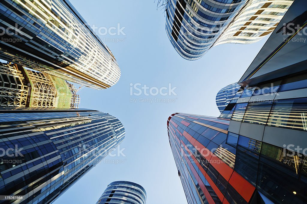 Skyscrapers in the downtown district of Beijing view from below royalty-free stock photo