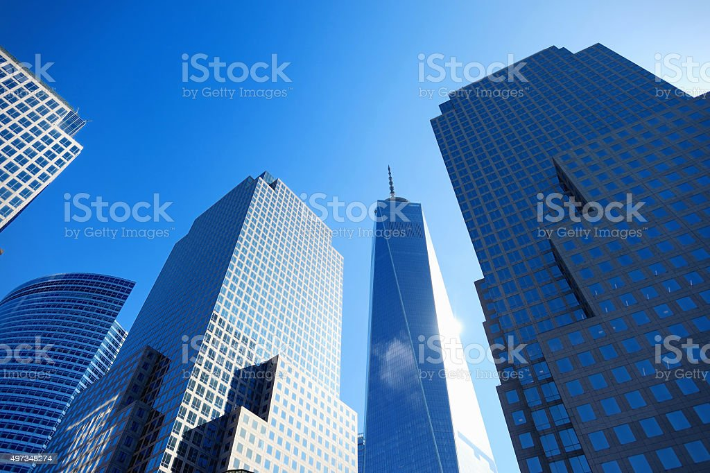 Skyscrapers in the downtown of New York stock photo