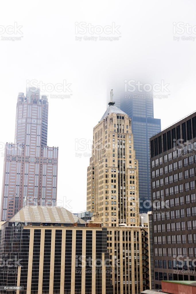 Skyscrapers in The Loop, downtown Chicago stock photo