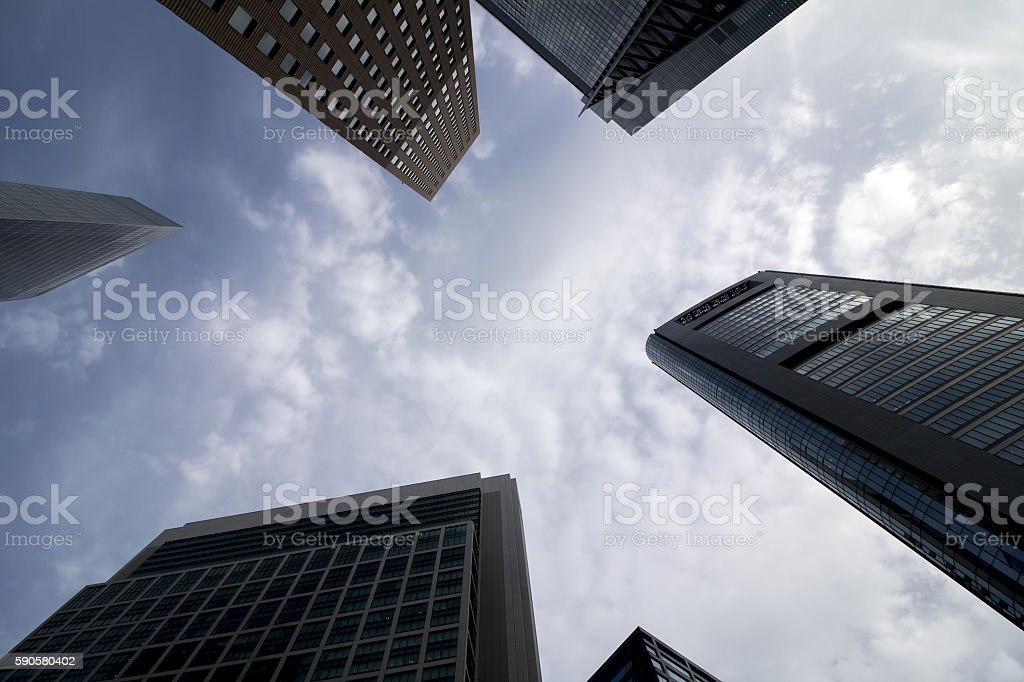 Skyscrapers in tokyo, japan, upward view stock photo
