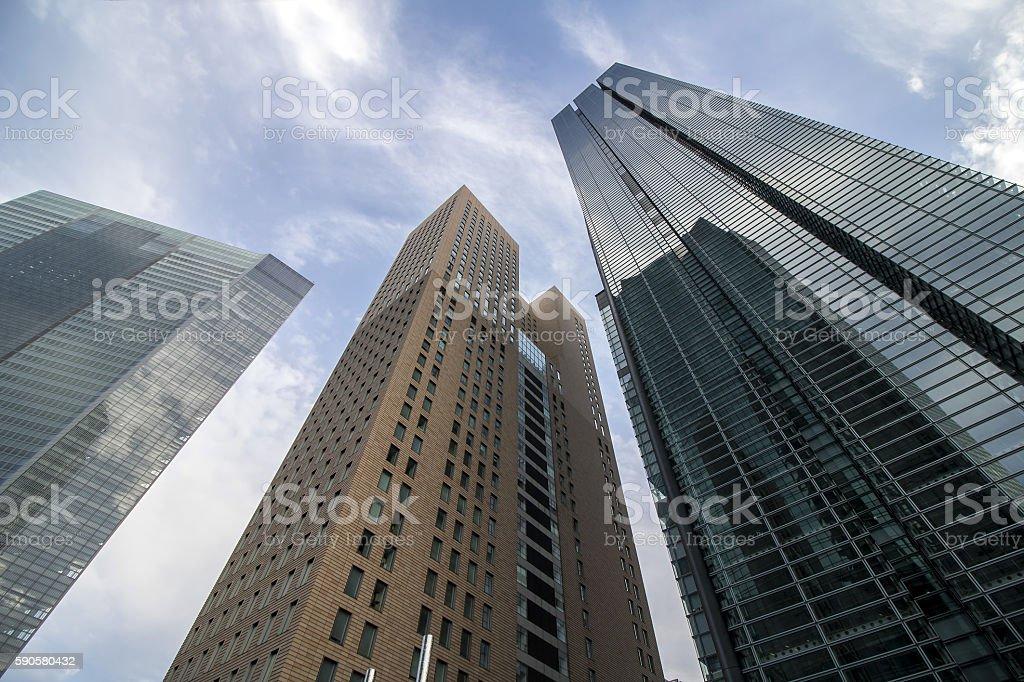 Skyscrapers in tokyo, japan, viewed from below stock photo