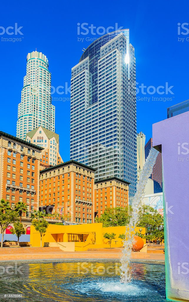 Skyscrapers Los Angeles skyline, California stock photo