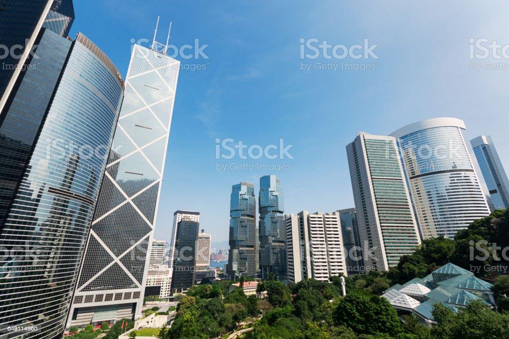 Skyscrapers near the Hong Kong Park. stock photo