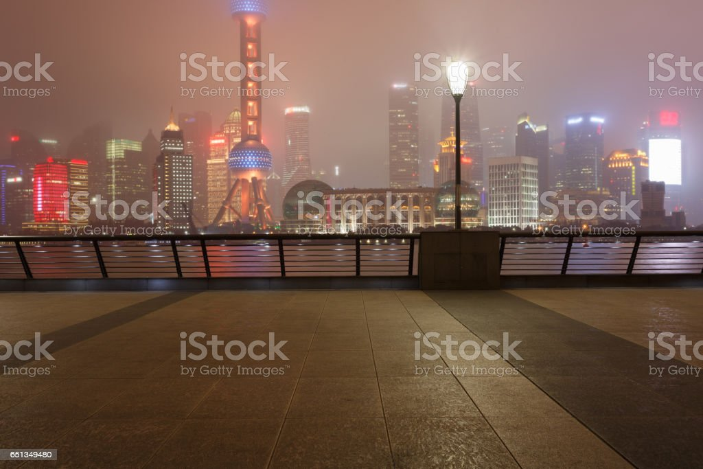 Skyscrapers night view stock photo