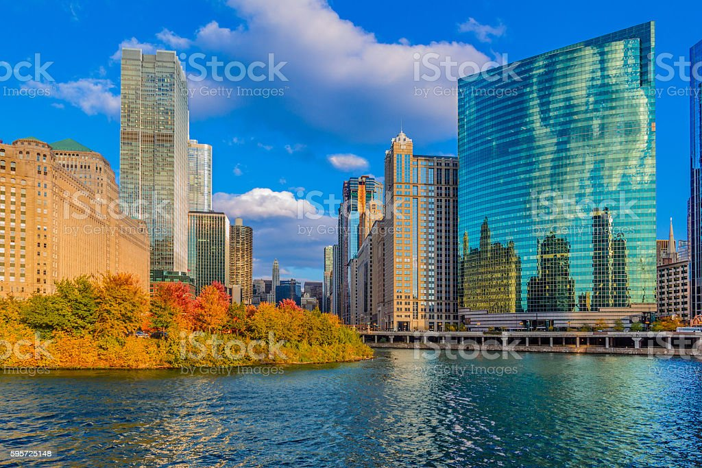Skyscrapers of Chicago skyline with the Chicago River, Ill (P) stock photo