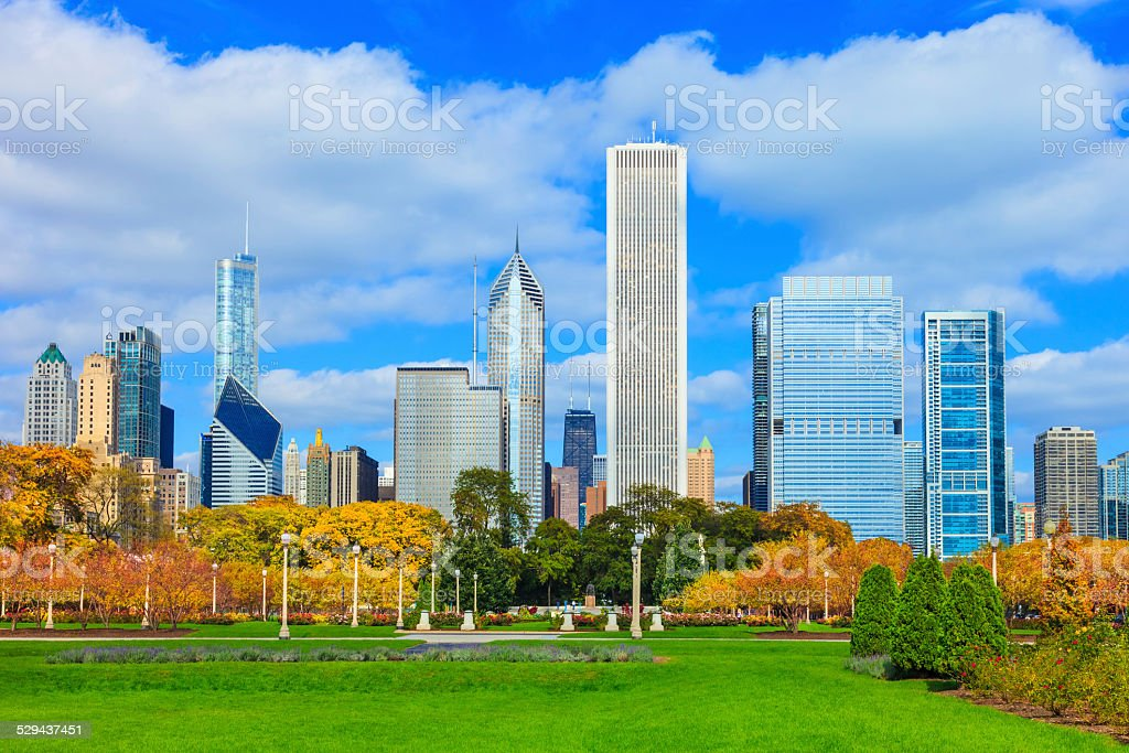 Skyscrapers of Chicago skyline,Grant Park,Illinois stock photo