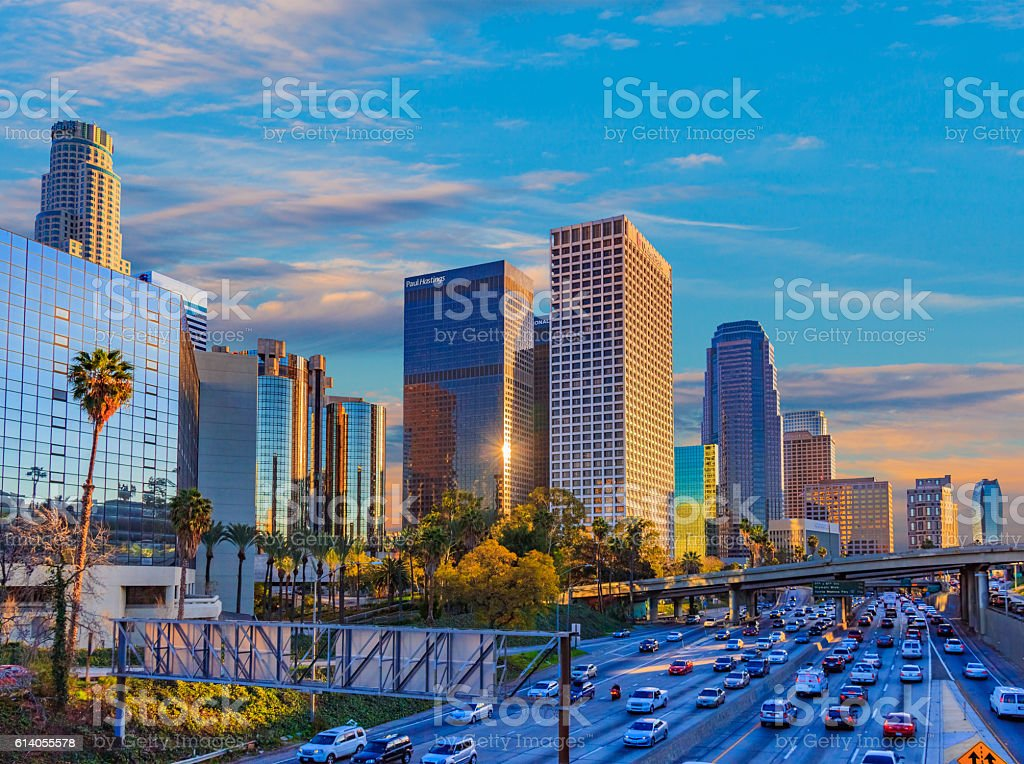 Skyscrapers of downtown Los Angeles skyline, CA (P) stock photo