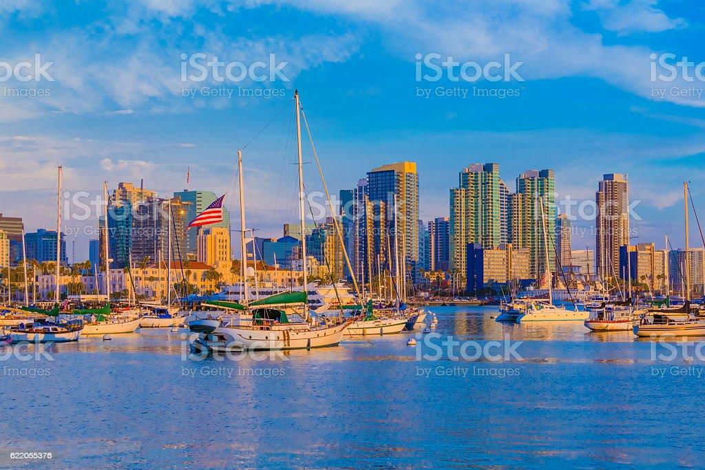 Skyscrapers of downtown San Diego Skyline, CA(P) stock photo