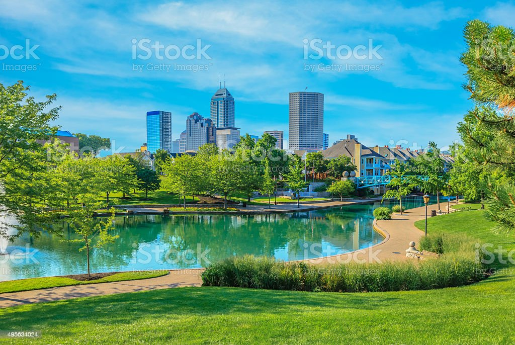 Skyscrapers of Indianapolis skyline, Indiana stock photo