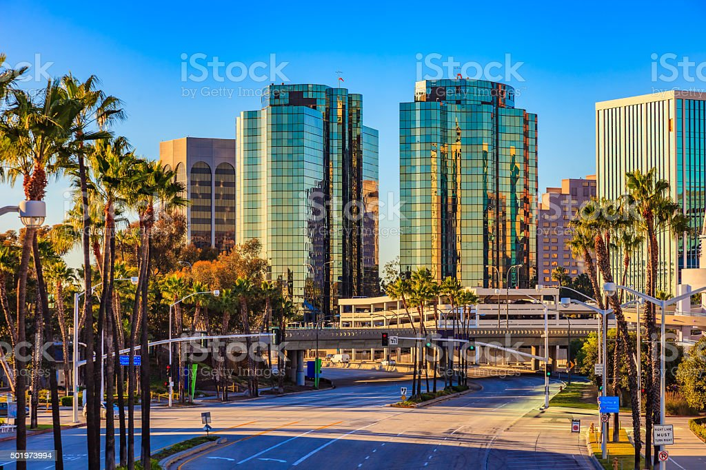 Skyscrapers of Long Beach skyline with palm trees,CA stock photo