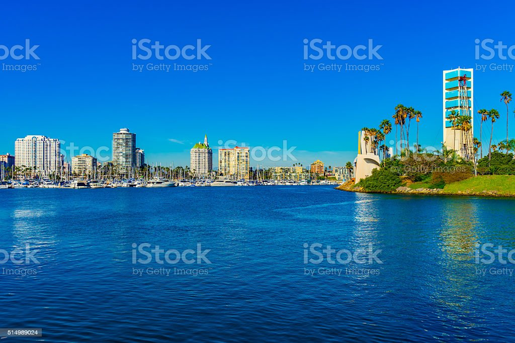 Skyscrapers of Long Beach skyline,harbor,boats,spring,CA(P) stock photo