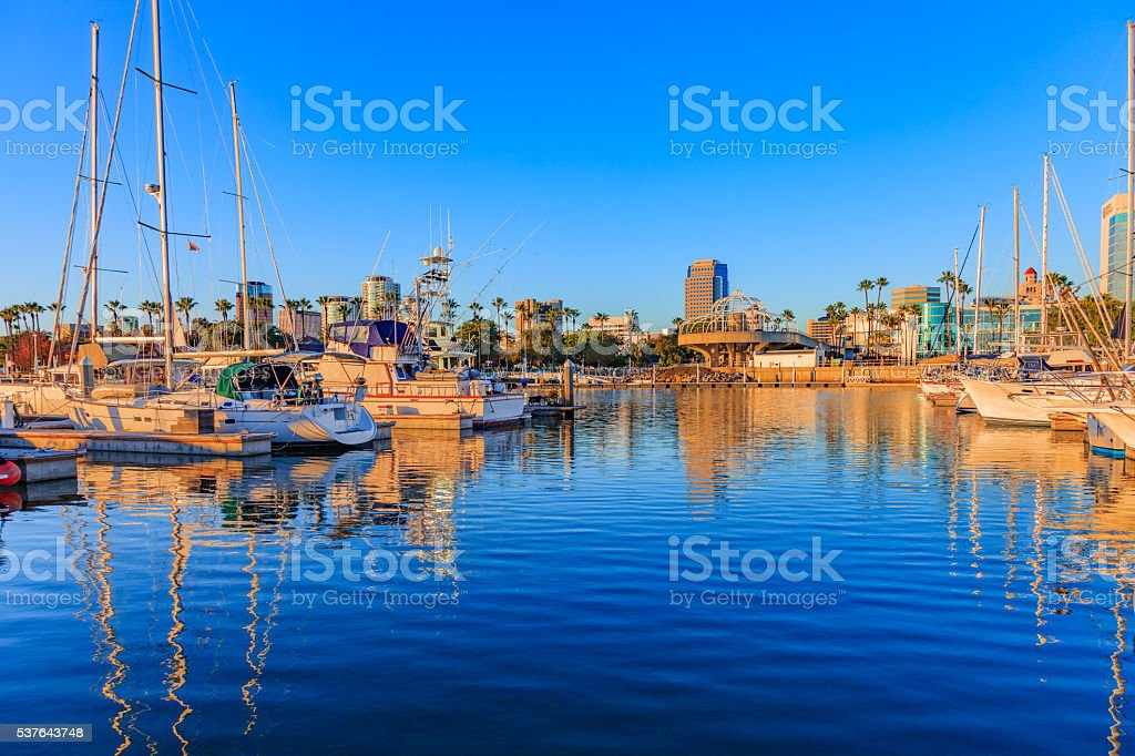 Skyscrapers of Long Beach skyline,harbor,boats,spring,CA stock photo