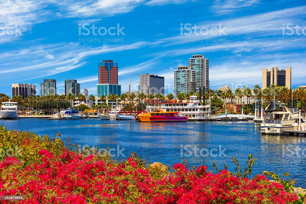 Skyscrapers of Long Beach skyline,harbor,boats,spring,California stock photo