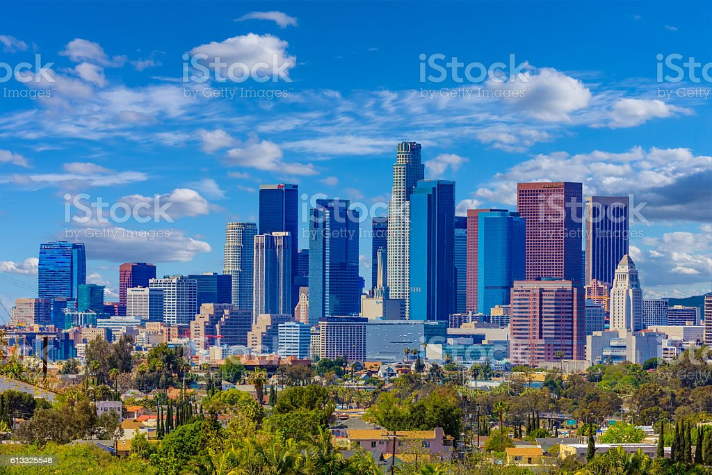 Skyscrapers of Los Angeles skyline, CA stock photo