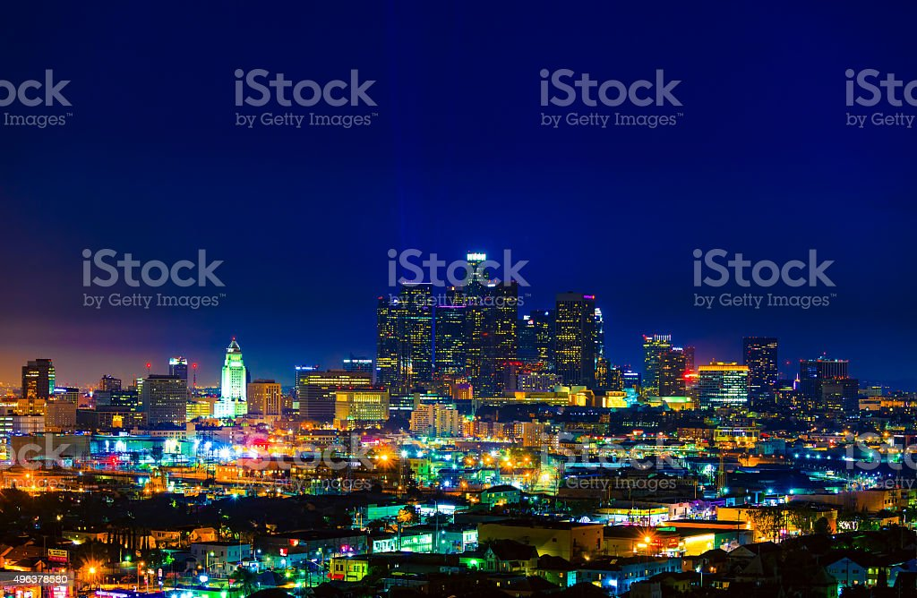 Skyscrapers of Los Angeles skyline dusk,urban sprawl, CA stock photo