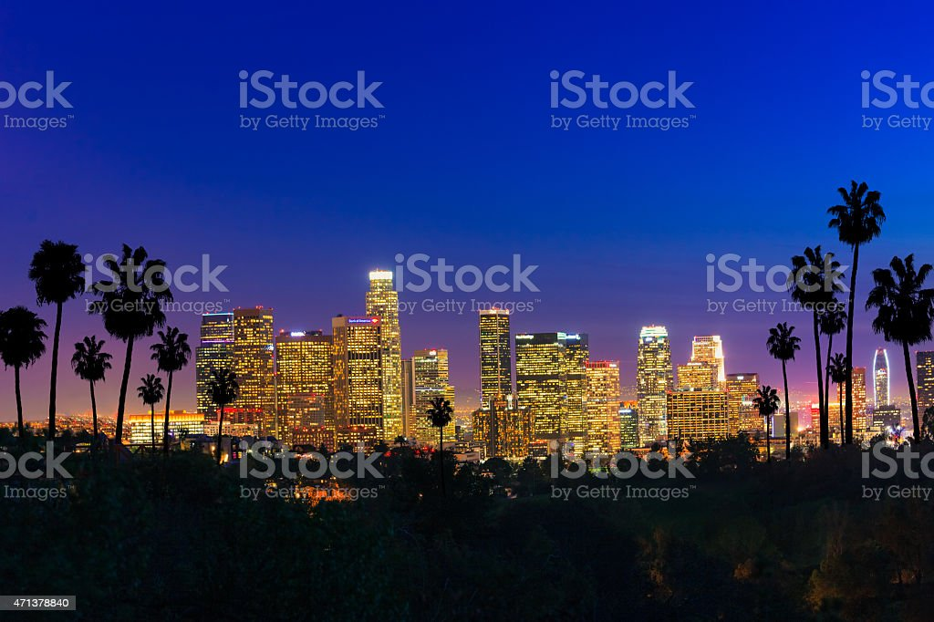 Skyscrapers of Los Angeles skyline sunset,urban sprawl, CA stock photo