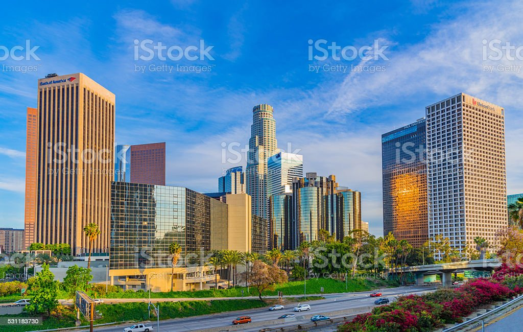 Skyscrapers of Los Angeles skyline with freeway,CA stock photo