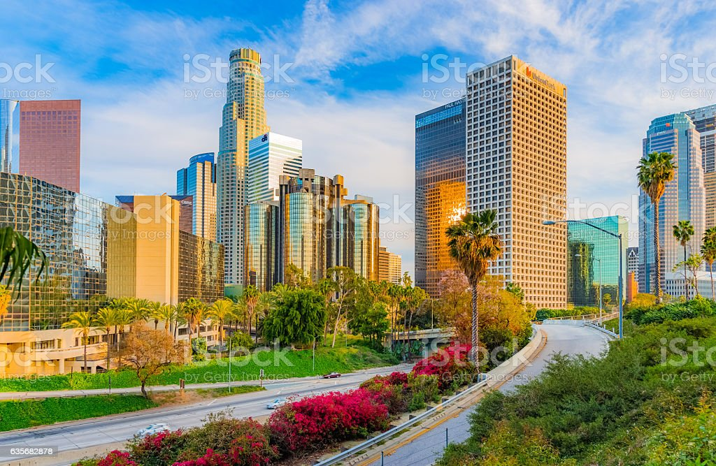 Skyscrapers of Los Angeles skyline with freeway,CA(P) stock photo