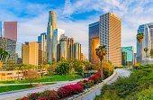 Skyscrapers of Los Angeles skyline with freeway,CA(P)