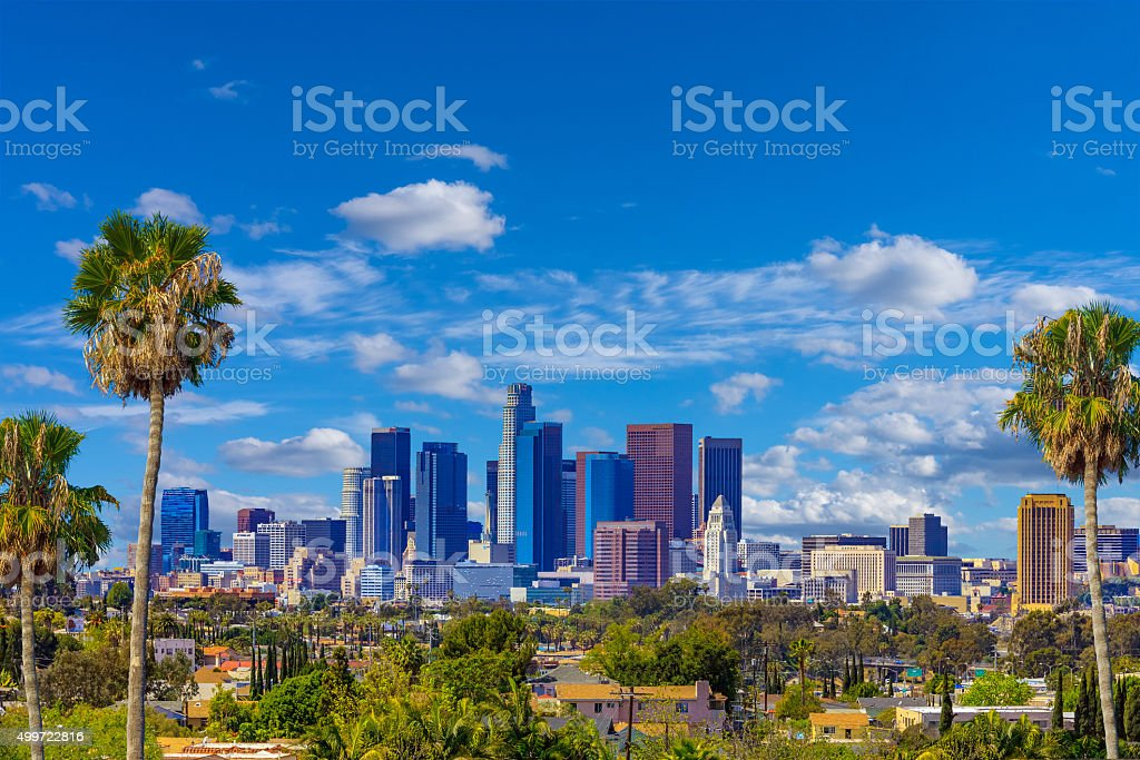 Skyscrapers of Los Angeles skyline,architecture,cityscape, CA stock photo