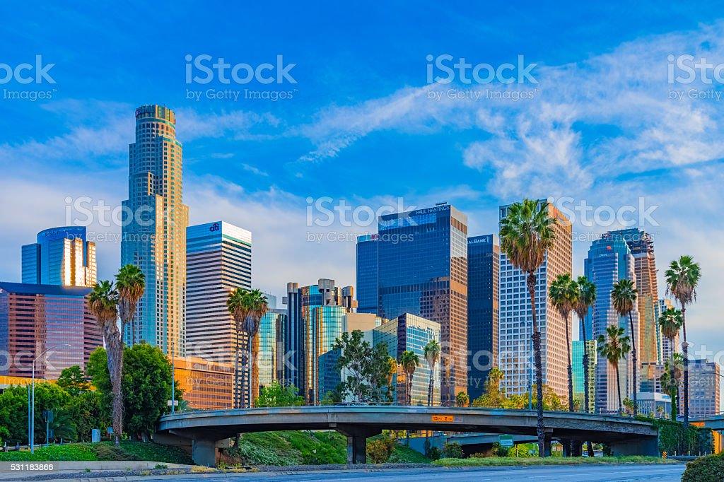 Skyscrapers of Los Angeles skyline,CA stock photo