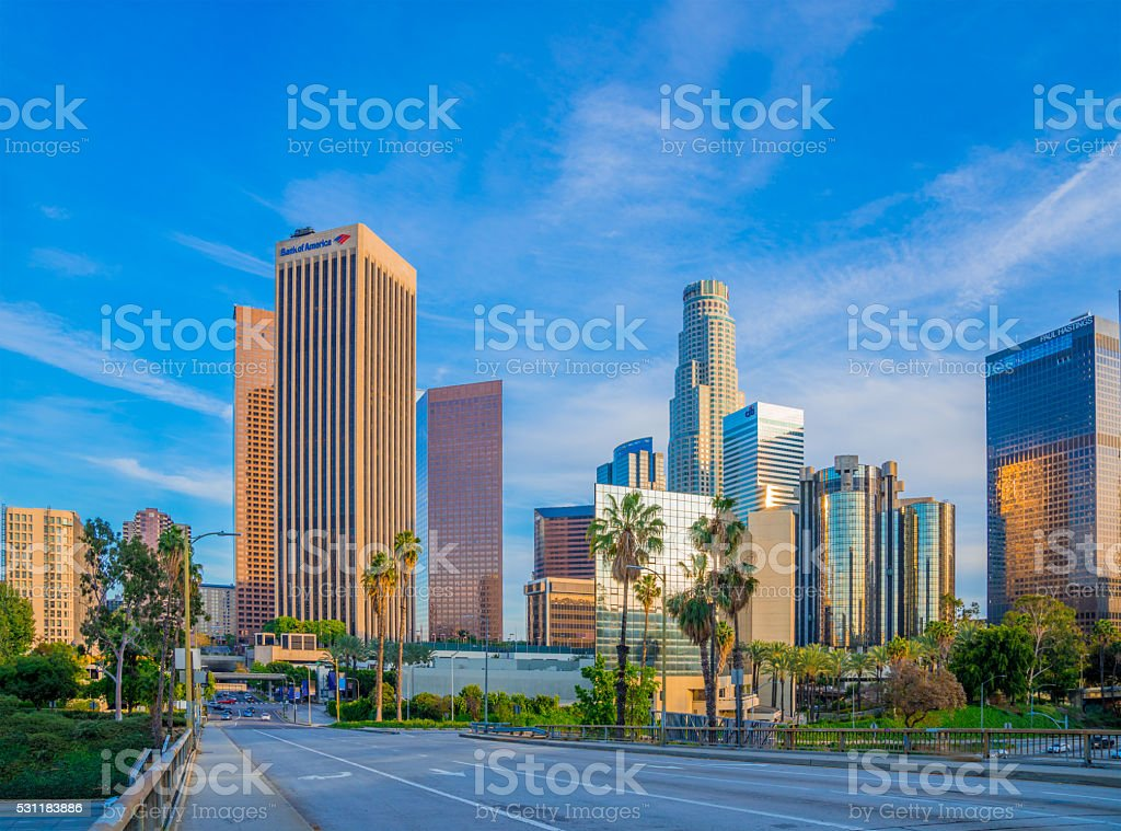 Skyscrapers of Los Angeles skyline,CA stock photo