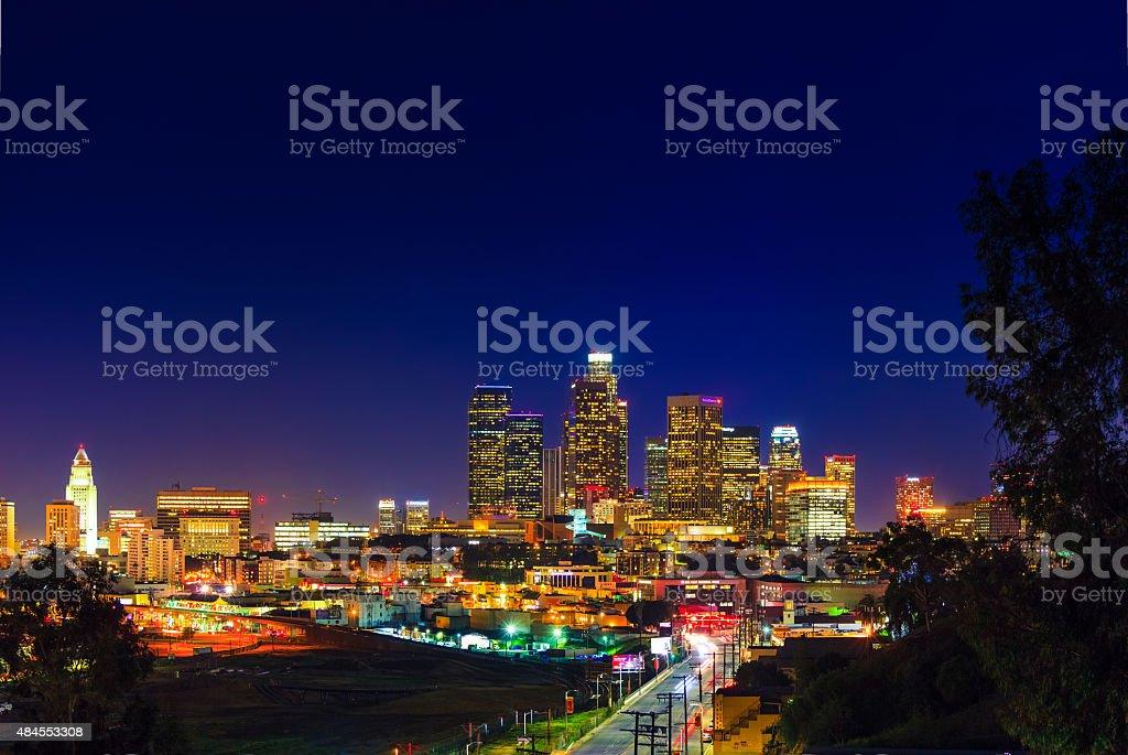 Skyscrapers of Los Angeles skyline,night,urban sprawl, CA stock photo