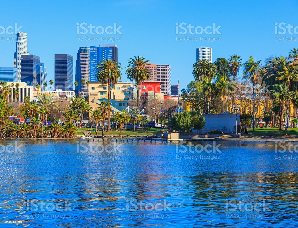 Skyscrapers of Los Angeles skyline,reflection,lake stock photo