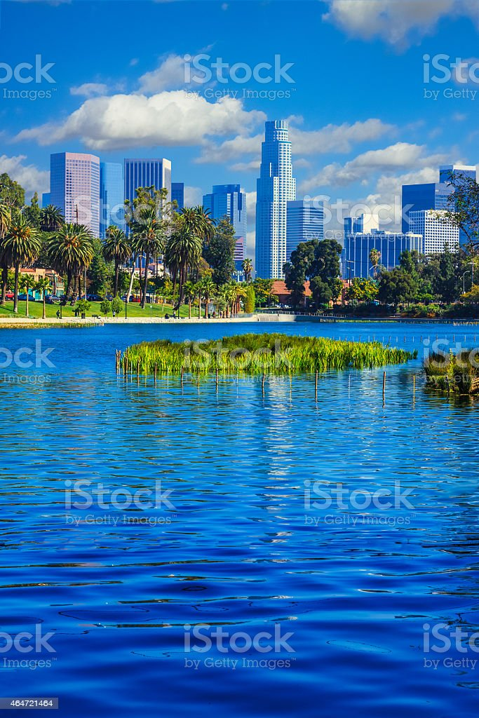 Skyscrapers of Los Angeles skyline,reflection,lake,water,archite stock photo