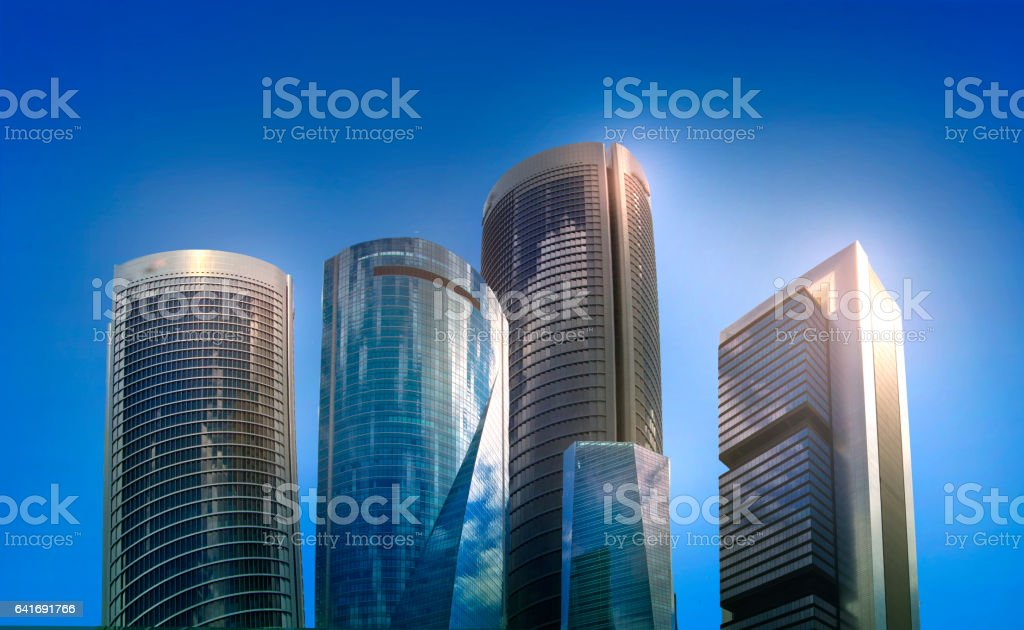 Skyscrapers of Madrid, Business illustration stock photo