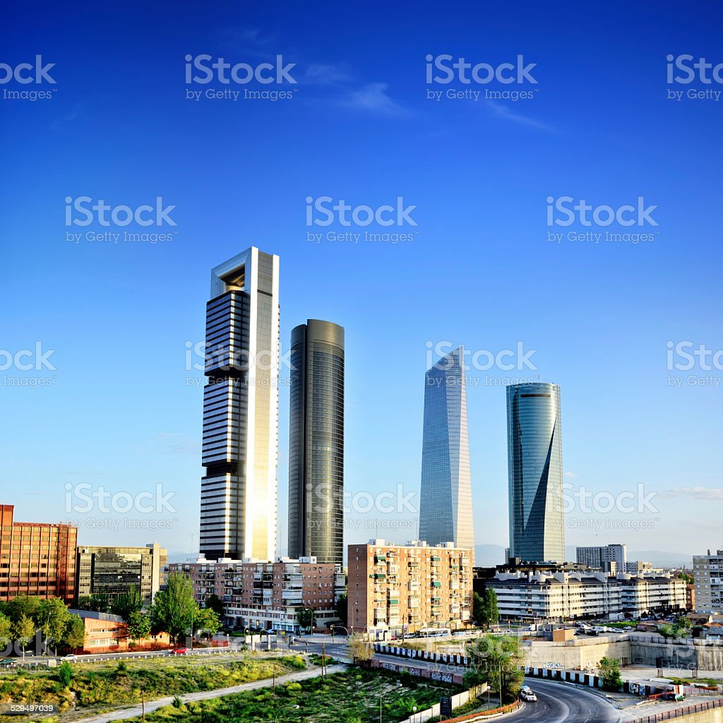 Skyscrapers of Madrid stock photo