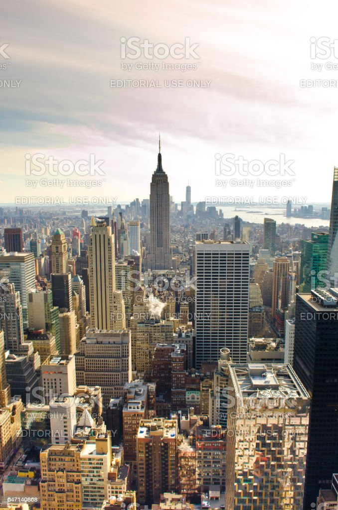 NEW YORK, USA - MARCH 24: Skyscrapers of Manhattan. Manhattan is one of places with the greatest concentration of the capital in the USA on March 24, 2014 in New York, USA stock photo