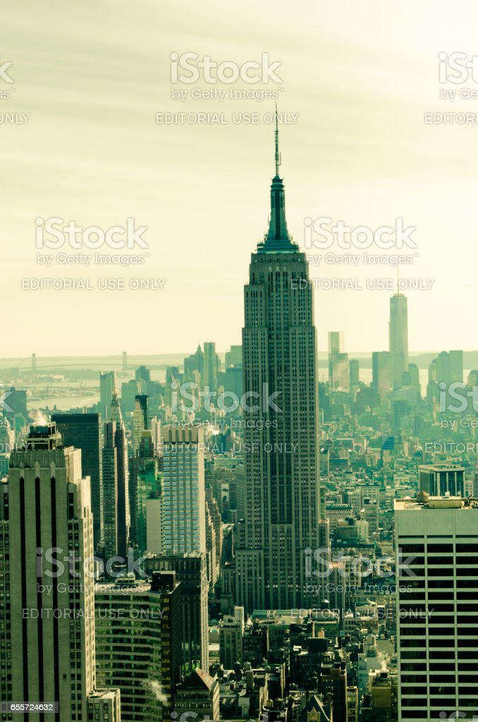 New York, USA - March 24, 2014:  Skyscrapers of Manhattan. Manhattan is one of places with the greatest concentration of the capital in the USA. stock photo