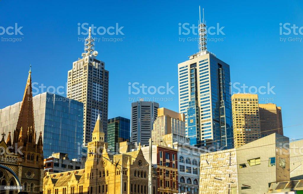 Skyscrapers of Melbourne CBD in Australia stock photo