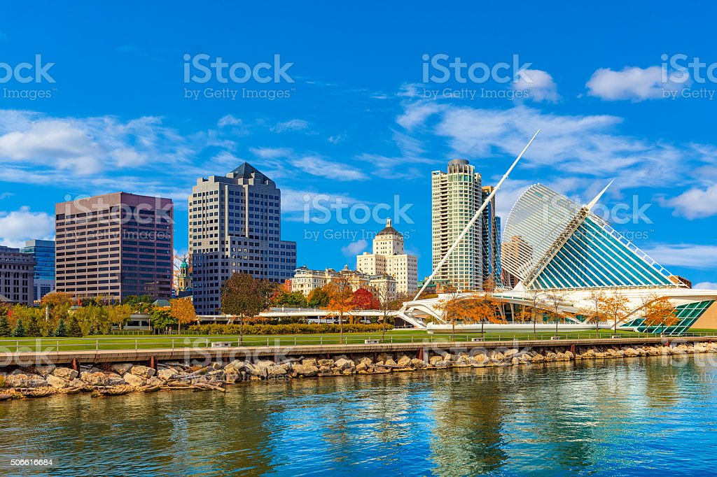 Skyscrapers of Milwaukee skyline and Lake Michigan, WI stock photo