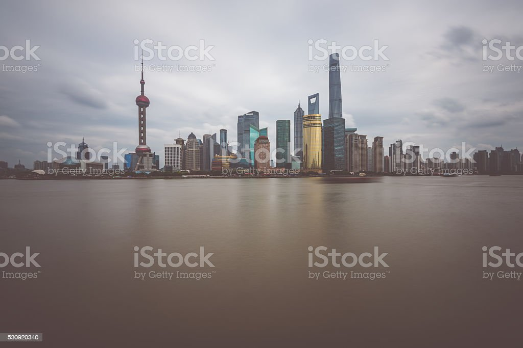 Skyscrapers of Pudong, Shanghai, China. stock photo