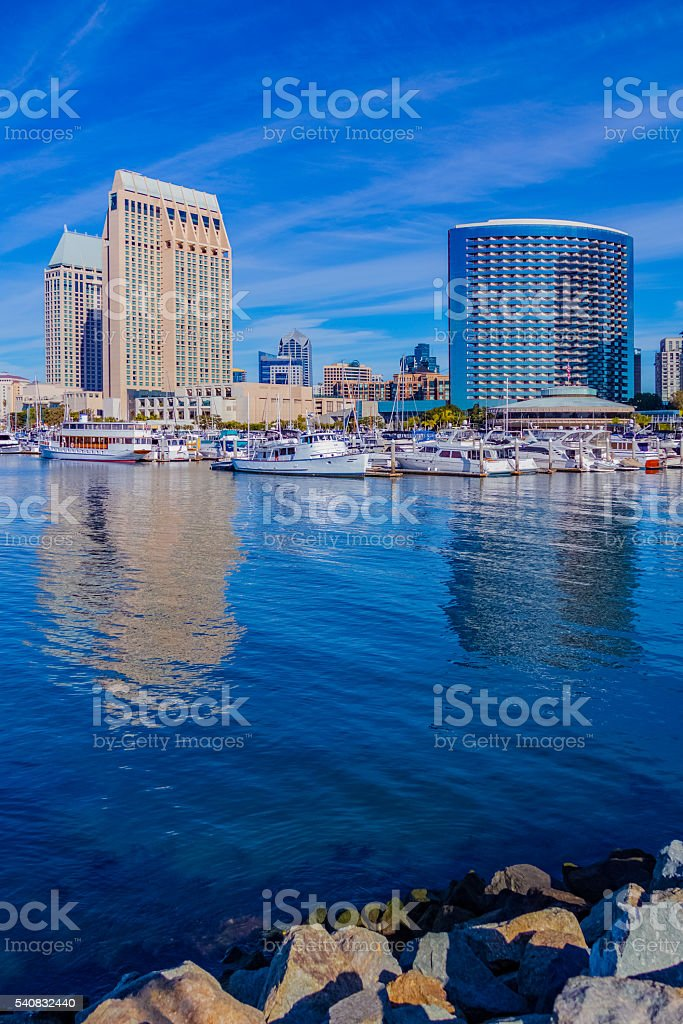 Skyscrapers of San Diego Skyline waterfront and harbor, CA(P) stock photo