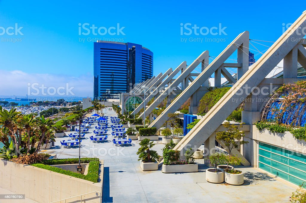 Skyscrapers of San Diego Skyline waterfront,harbor,convention ce stock photo